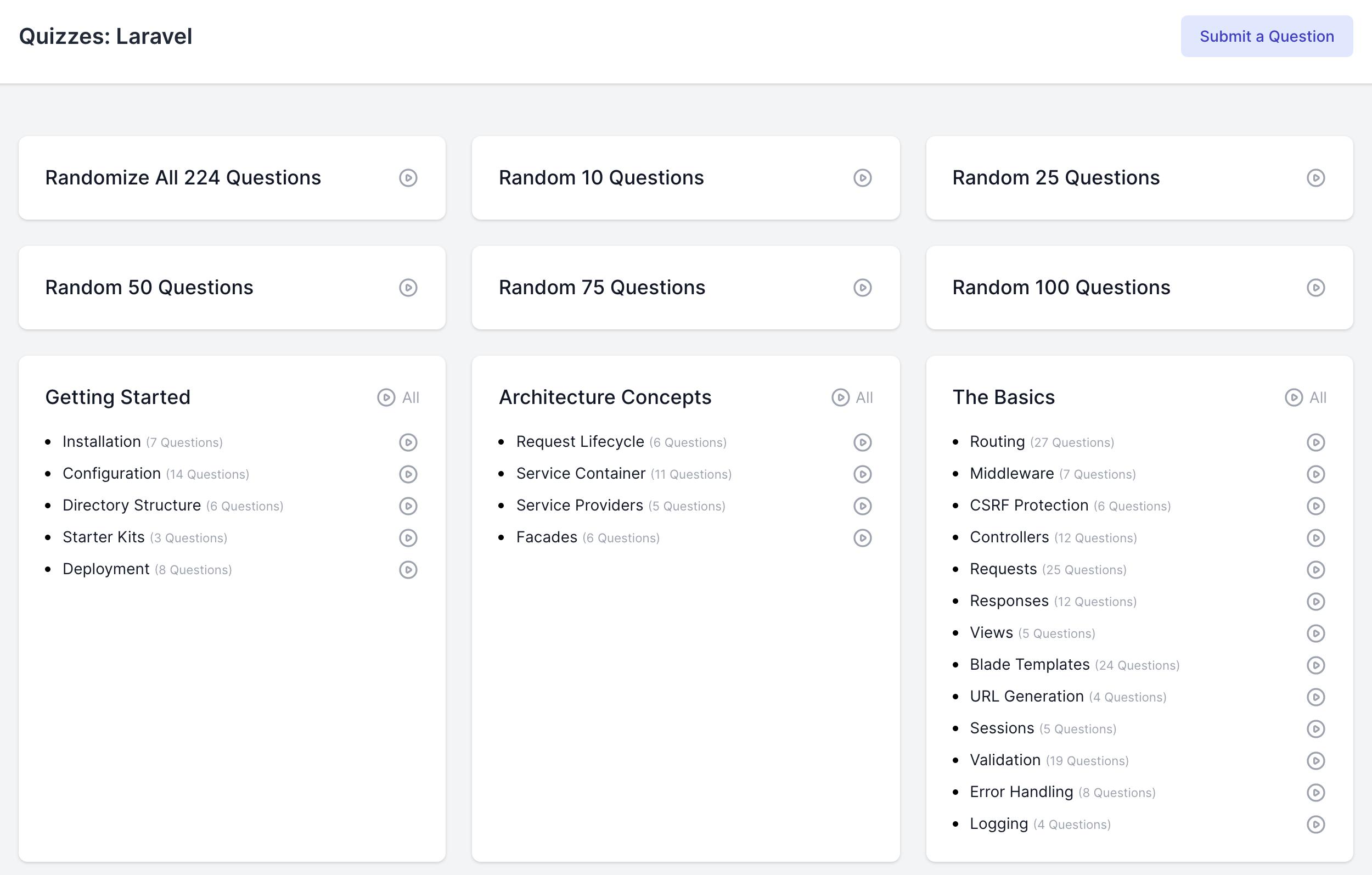 Laravel Quiz Categories Screen