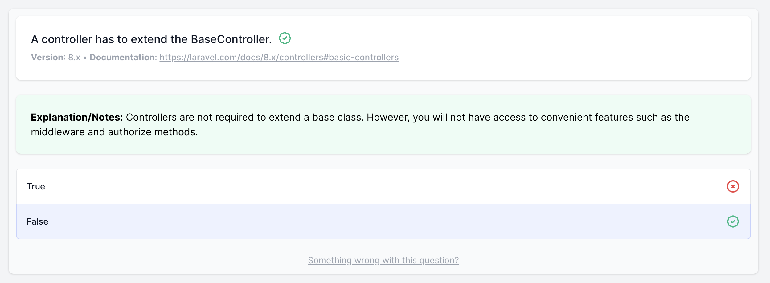 Laravel Quiz Question with Notes