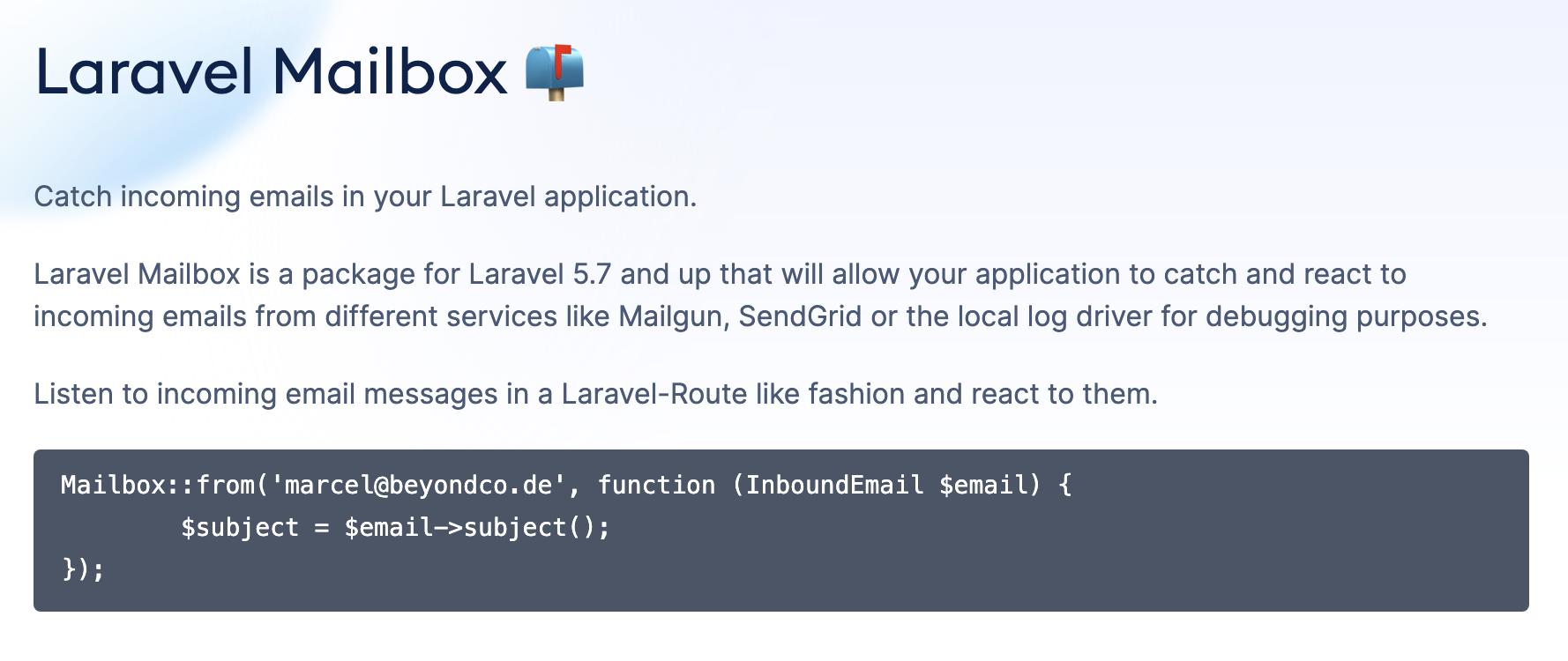 Laravel Mailbox - Package Image