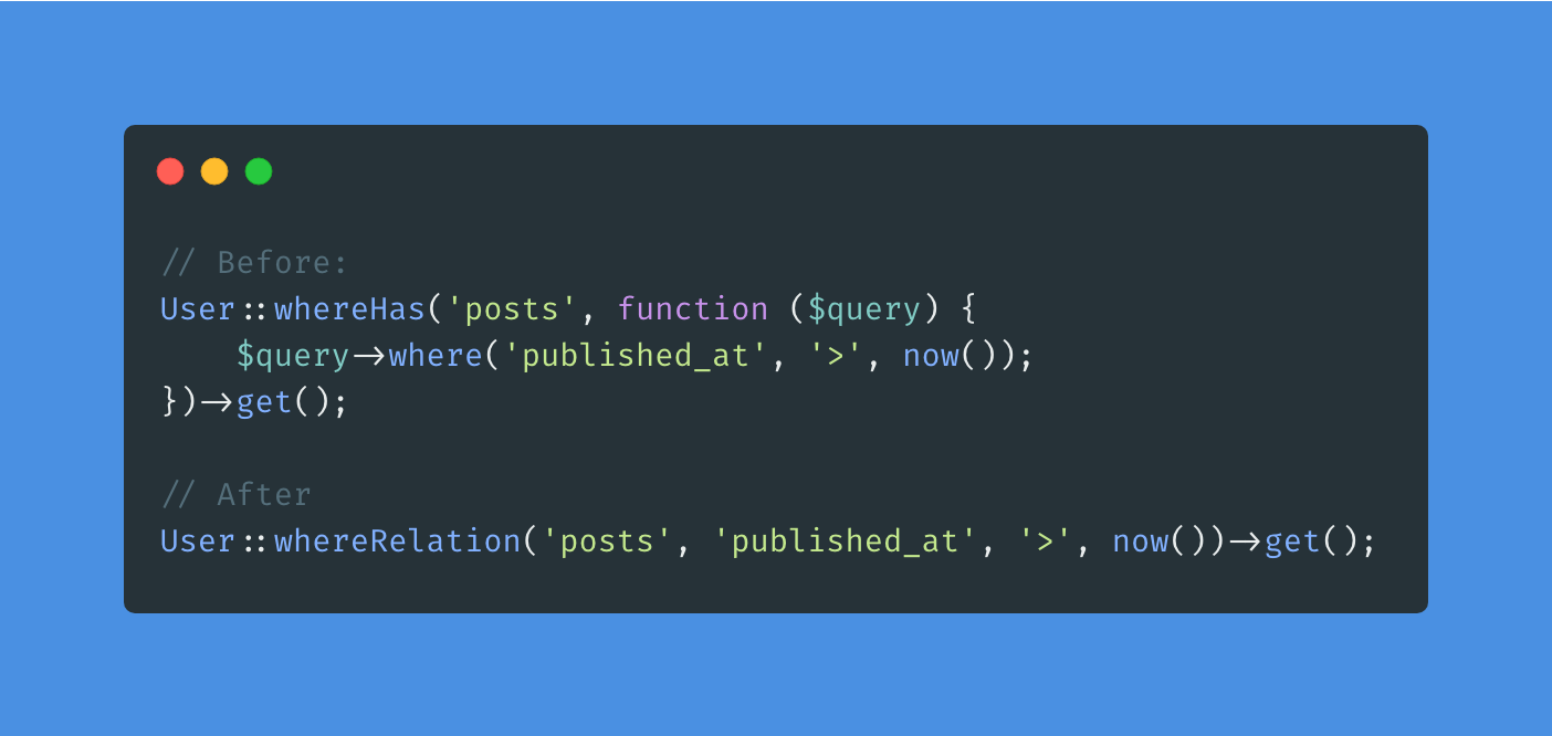 [8.x] Adds a simple where helper for querying relations - Post Image