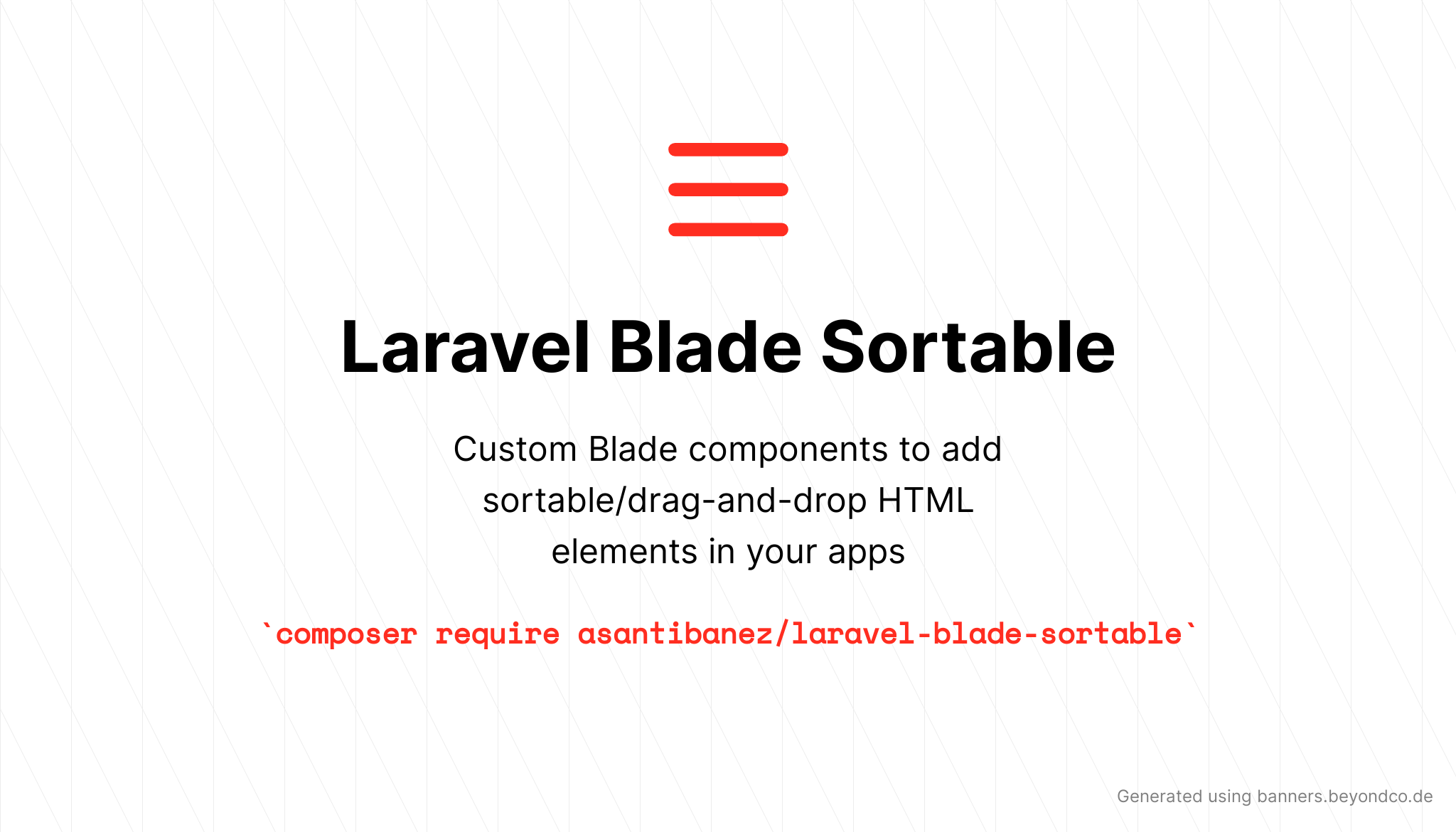 Laravel Blade Sortable - Package Image