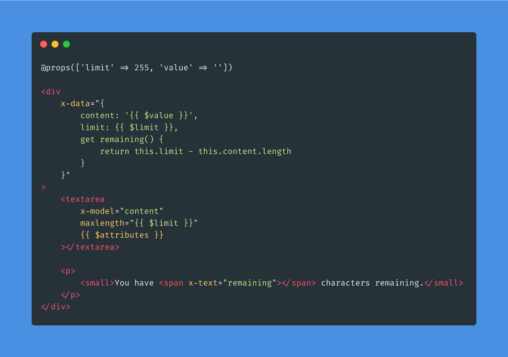 Building a Constrained Textarea using Alpine.js - Post Image